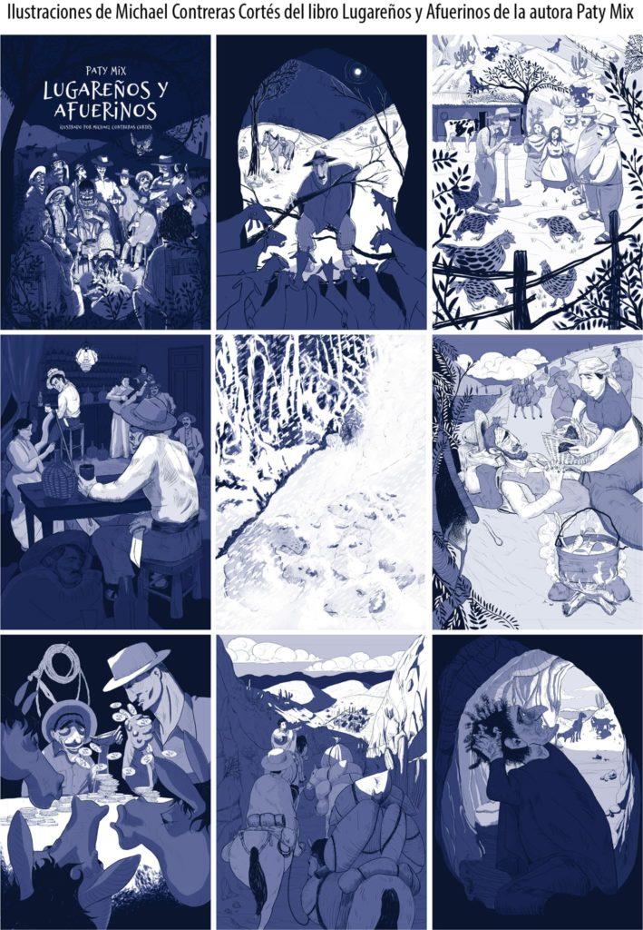 """Ilustracion libro lugareños y afuerino michael contreras cortés 709x1024 - Ilustración editorial para el libro """"Lugareños y afuerinos"""""""