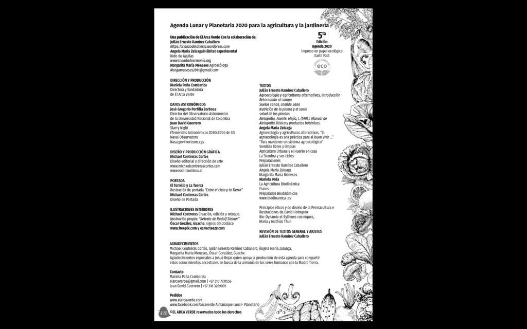 creditos agenda el arca verde michael contreras cortes 1024x640 - Agenda libro: Diseño, dirección de arte e ilustración