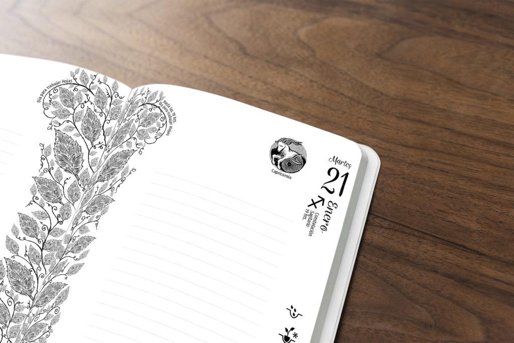 diseno agenda lunar y planetaria agricultura biodinamica agenda el arca verde michael contreras cortes 1024x683 - Agenda libro: Diseño, dirección de arte e ilustración