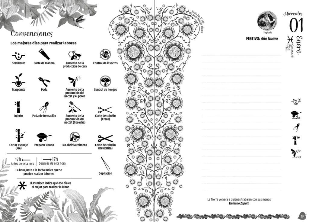 interior agenda lunar y planetaria el arca verde michael contreras cortes 1024x735 - Agenda libro: Diseño, dirección de arte e ilustración